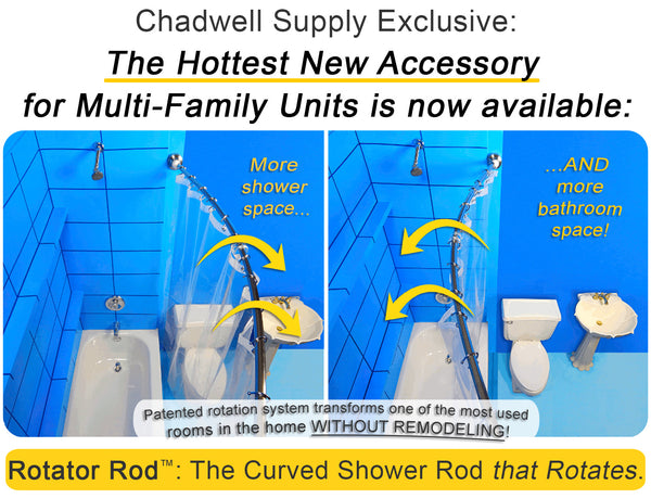 Apartment Managers Can Now Buy Space-Saving Curved Shower Rod through Chadwell Supply from Bathroom Bliss by Rotator Rod