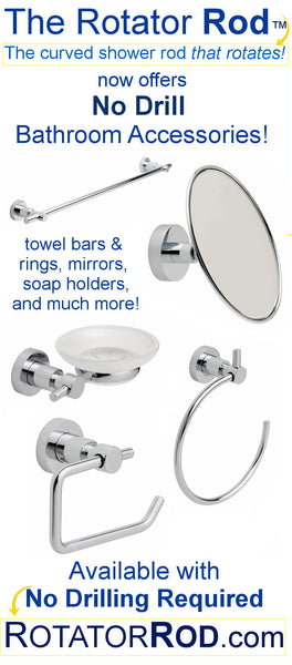 Rotator Rod's New Bathroom Accessories - With No Drilling Required! from Bathroom Bliss by Rotator Rod