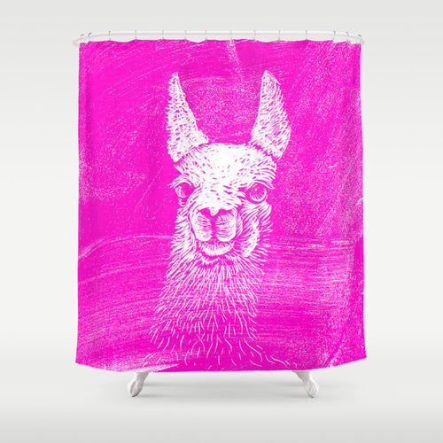 sassy-looking llama on a hot pink shower curtain... Shower Curtain Trends: Neon Colors Brighten Small Bathroom Space from Bathroom Bliss by Rotator Rod