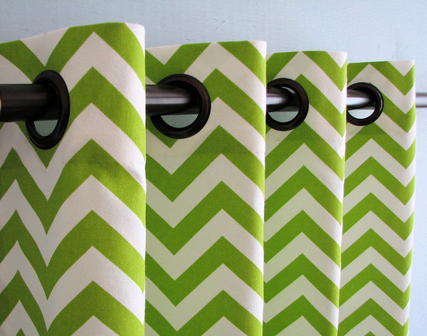neon green and white classic chevron shower curtain... Shower Curtain Trends: Neon Colors Brighten Small Bathroom Space from Bathroom Bliss by Rotator Rod