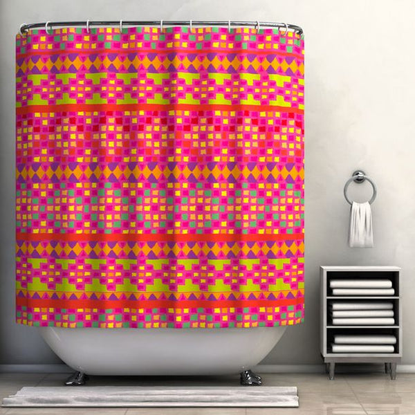 neon pink, yellow, purple, orange festival Native American pattern shower curtain... Shower Curtain Trends: Neon Colors Brighten Small Bathroom Space from Bathroom Bliss by Rotator Rod