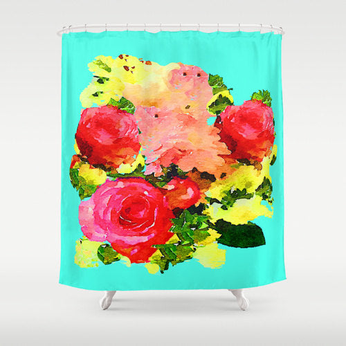 antique flower pattern shower curtain updated with vibrant neon blue and neon green... Shower Curtain Trends: Neon Colors Brighten Small Bathroom Space from Bathroom Bliss by Rotator Rod