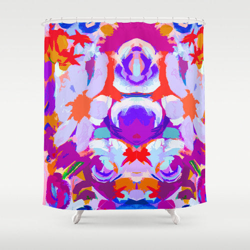 abstract flower shower curtain with neon orange and neon purple... Shower Curtain Trends: Neon Colors Brighten Small Bathroom Space from Bathroom Bliss by Rotator Rod