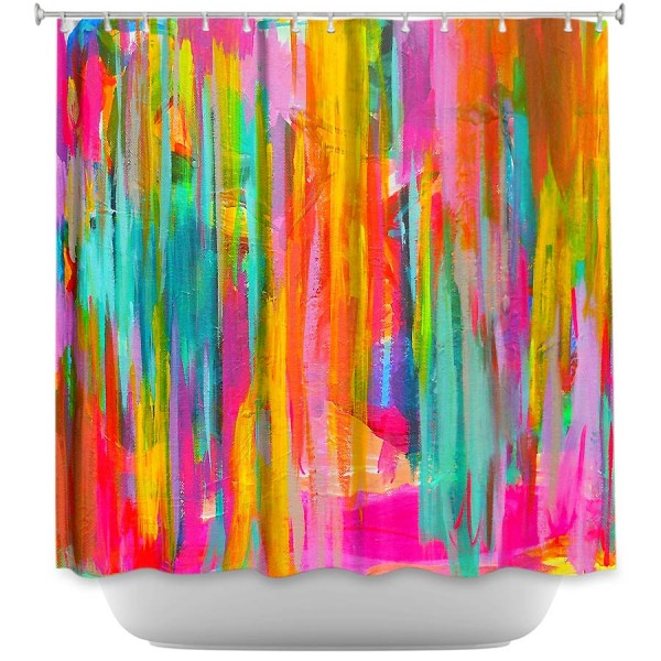 abstract neon painted shower curtain... Shower Curtain Trends: Neon Colors Brighten Small Bathroom Space from Bathroom Bliss by Rotator Rod