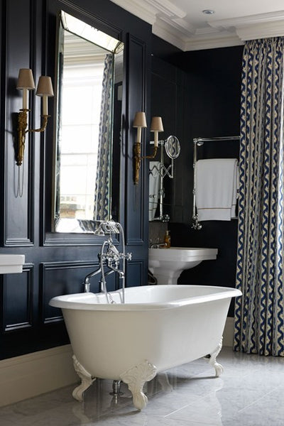 gorgeous bathroom with clawfoot bathtub, large mirror, drapes, beautiful light fixtures... Sleek & Sexy Black Bathroom Designs from Bathroom Bliss by Rotator Rod