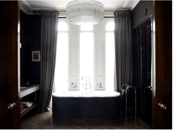 gorgeous masculine bathroom with freestanding bathtub, chandelier, and heavy drapes... Sleek & Sexy Black Bathroom Designs from Bathroom Bliss by Rotator Rod