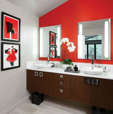 small red and white master bathroom with white orchids and artwork... Small Bathroom Chic: Artwork Brightens Bathroom Space from Bathroom Bliss by Rotator Rod