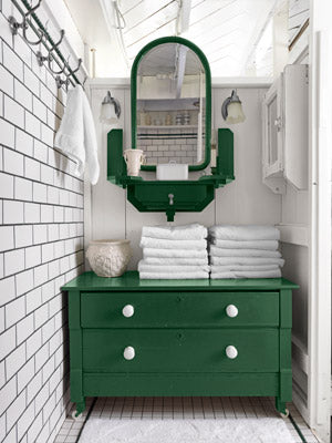 small bathroom with white subway tile and green bathroom cabinets... Small Bathroom Chic: Small Spaces with Big Style from Bathroom Bliss by Rotator Rod