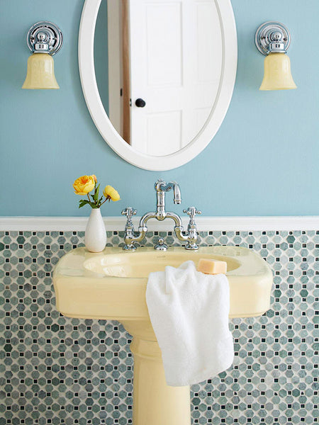 blue bathroom with mosaic backsplash, vintage sink, sconces, round mirror... Small Bathroom Chic: Small Spaces with Big Style from Bathroom Bliss by Rotator Rod