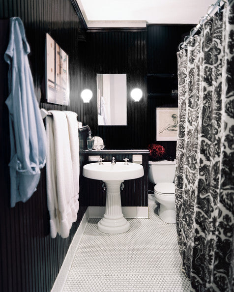 small all black bathroom with white floor and ceiling and curved shower rod... Small Bathroom Chic: Small Spaces with Big Style from Bathroom Bliss by Rotator Rod