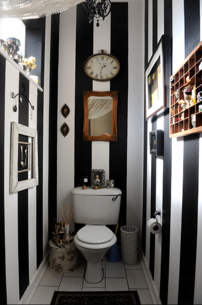 small bathroom with black and white striped walls and funky antique accessories... Small Bathroom Chic: Small Spaces with Big Style from Bathroom Bliss by Rotator Rod