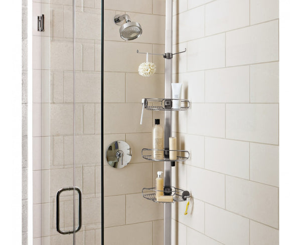 tall shower organizer that makes the bathroom look tall and elegant... Small Bathroom Chic: Space Saving Solutions from Bathroom Bliss by Rotator Rod