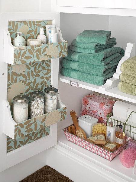 under the sink bathroom cabinet storage and organization... Small Bathroom Chic: Space Saving Solutions from Bathroom Bliss by Rotator Rod