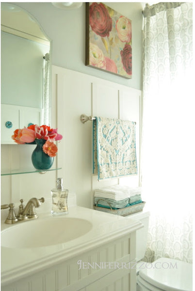 luxurious bathroom with towel storage, flowers, decorative containers... Small Bathroom Chic: Space Saving Solutions from Bathroom Bliss by Rotator Rod