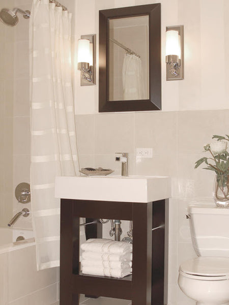 small white bathroom with shower curtain, dark wood accents... Small Bathroom Ideas: Shower Spaces from Bathroom Bliss by Rotator Rod