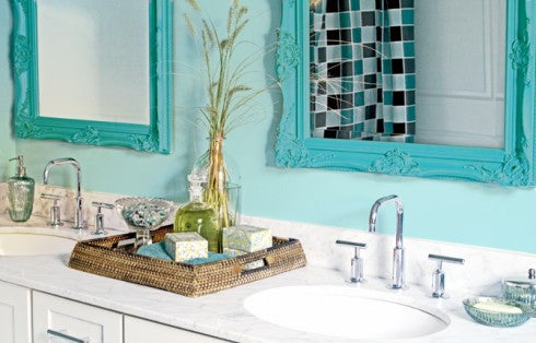 lovely light blue master bathroom with white accents and bright blue framed mirrors... Small Bathroom Ideas: Trendy Bathroom Mirror Updates from Bathroom Bliss by Rotator Rod
