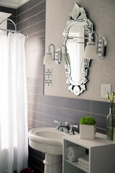 beautiful gray bathroom with Venetian mirror, white shower curtain, pedestal sink, gray subway tile... Small Bathroom Ideas: Trendy Bathroom Mirror Updates from Bathroom Bliss by Rotator Rod