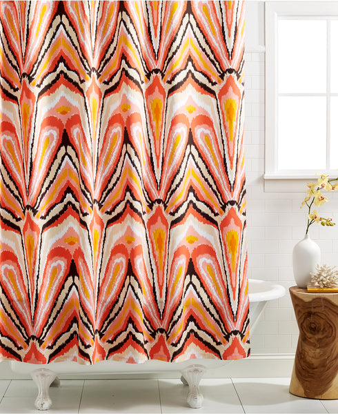 beautiful shower curtain with red, yellow, orange, pink design... Sophisticated Fall Shower Curtains for Guest Bathrooms from The Bathroom Bliss Blog by Rotator Rod