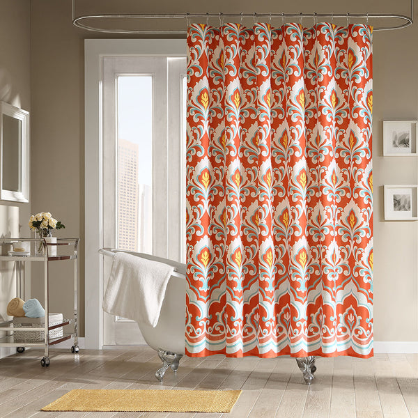 Beautiful Shower Curtain With Red And Yellow Abstract Design Sophisticated Fall Curtains