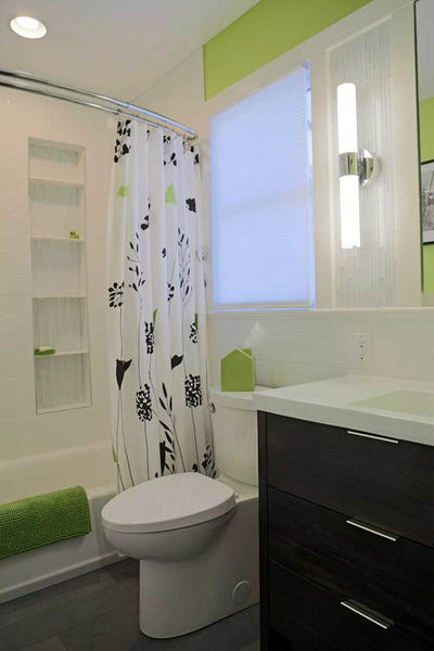 Superb Contemporary Lime Green, Black, And White Bathroom With Curved Shower Rod.