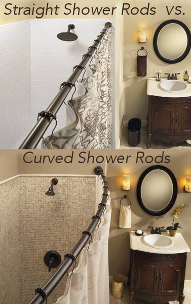 Beautiful Cream Colored Bathroom With Dark Cabinets Showing The Difference Between A Straight Shower Rod And Curved Curtain