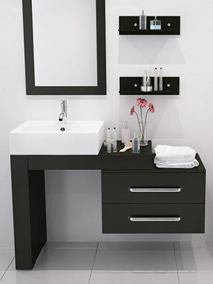 small but beautiful white bathroom with black modern vanity, flowers... Tiny Bathroom, Big Ideas: 5 Space Saving Ideas for Small Bathrooms by Tradewinds Imports from The Bathroom Bliss Blog by Rotator Rod