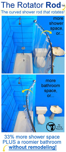 The Rotator Rod is the original curved shower rod that rotates for more room in your shower AND a more spacious bathroom... Tiny Bathroom, Big Ideas: 5 Space Saving Ideas for Small Bathrooms by Tradewinds Imports from The Bathroom Bliss Blog by Rotator Rod