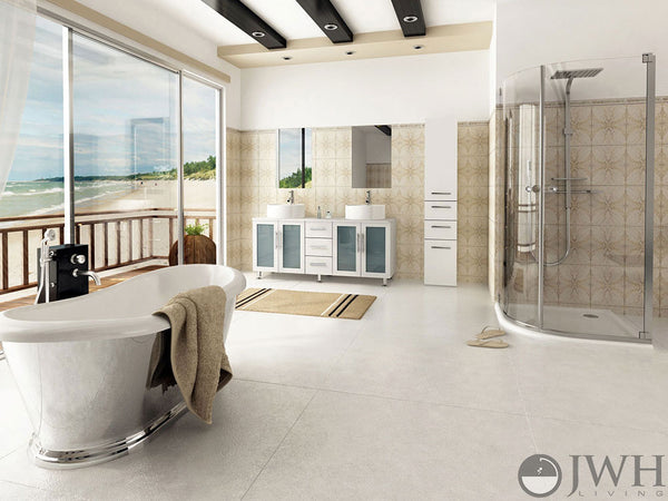 beautiful and spacious master bathroom with white vanity, silver tub, glass shower, and a view of the beach... Tiny Bathroom, Big Ideas: 5 Space Saving Ideas for Small Bathrooms by Tradewinds Imports from The Bathroom Bliss Blog by Rotator Rod