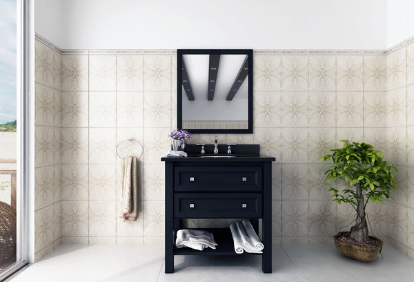 lovely cream and white bathroom with black vanity, bonsai tree, and beautiful mirror... Tiny Bathroom, Big Ideas: 5 Space Saving Ideas for Small Bathrooms by Tradewinds Imports from The Bathroom Bliss Blog by Rotator Rod