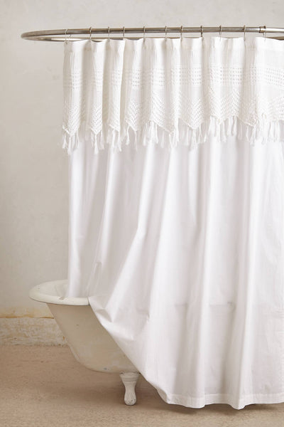 beautiful white bohemian shower curtain with macrame detailing... Trending in Bathroom Decor: Airy, White Shower Curtains from Bathroom Bliss by Rotator Rod