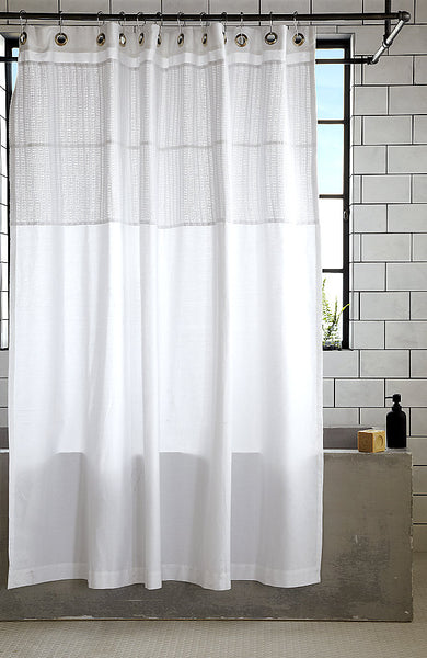 modern bathroom with gray bathtub, white subway tile, and billowing white shower curtain with detailing at top... Trending in Bathroom Decor: Airy, White Shower Curtains from Bathroom Bliss by Rotator Rod
