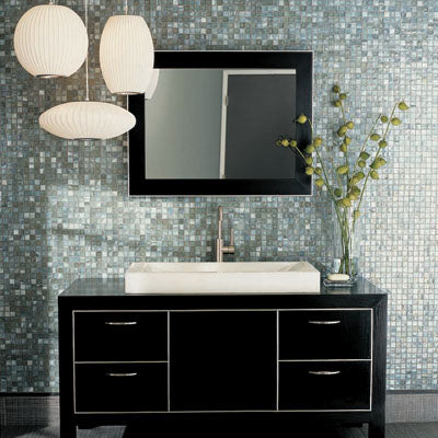 Modern Eclectic Bathroom With Glass Mosaic Wall, Black Vanity, Hanging  Lights, Plants.