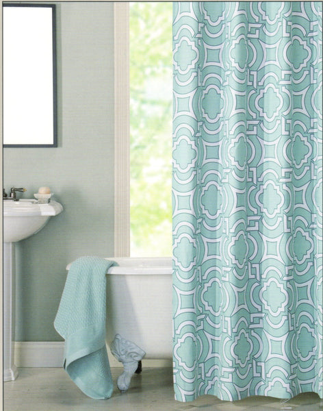 beautiful light blue bathroom with claw foot tub and light blue quatrefoil shower curtain... Trending in Bathroom Decor: Quatrefoil Shower Curtains from Bathroom Bliss by Rotator Rod