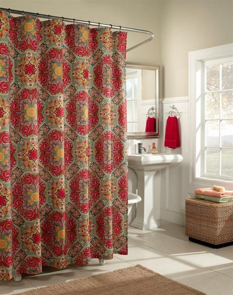 white bathroom with red and green Moroccan-inspired quatrefoil shower curtain... Trending in Bathroom Decor: Quatrefoil Shower Curtains from Bathroom Bliss by Rotator Rod