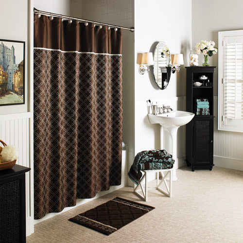 sophisticated bathroom with a dark chocolate quatrefoil shower curtain... Trending in Bathroom Decor: Quatrefoil Shower Curtains from Bathroom Bliss by Rotator Rod