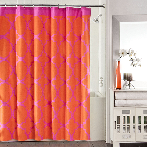 white bathroom with an orchid and a bold pink and orange quatrefoil shower curtain... Trending in Bathroom Decor: Quatrefoil Shower Curtains from Bathroom Bliss by Rotator Rod