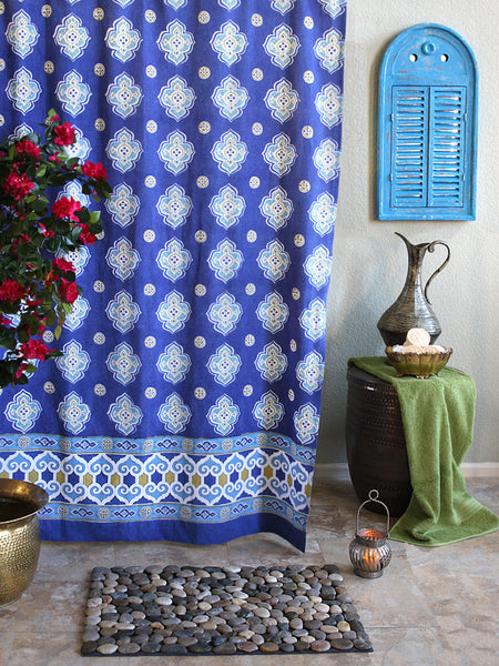 Moroccan-inspired bathroom with blue and white quatrefoil shower curtain and river rock bath mat... Trending in Bathroom Decor: Quatrefoil Shower Curtains from Bathroom Bliss by Rotator Rod