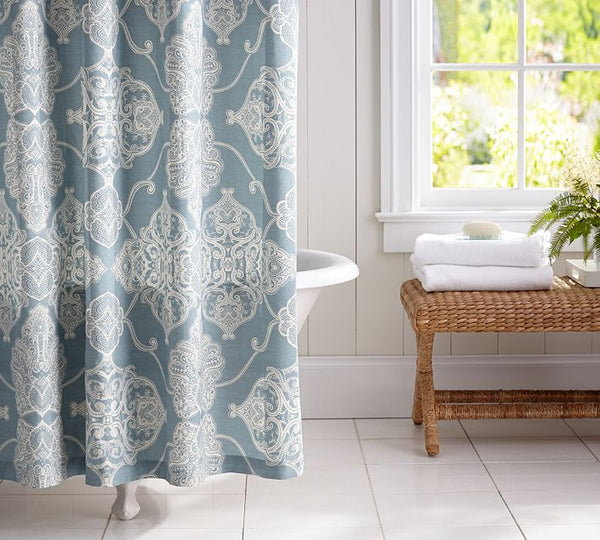 white bathroom with beautiful light blue and white quatrefoil shower curtain... Trending in Bathroom Decor: Quatrefoil Shower Curtains from Bathroom Bliss by Rotator Rod