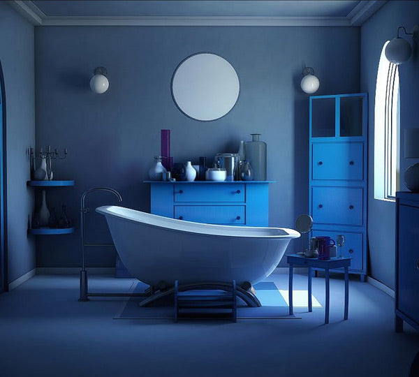 dramatic blue bathroom with freestanding bathtub... Trending in Bathroom Design: Blue Bathrooms from Bathroom Bliss by Rotator Rod
