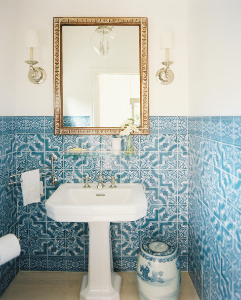 Mediterranean inspired bathroom with decorative blue tiles... Trending in Bathroom Design: Blue Bathrooms from Bathroom Bliss by Rotator Rod