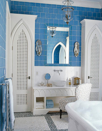 Moorish inspired eclectic blue bathroom... Trending in Bathroom Design: Blue Bathrooms from Bathroom Bliss by Rotator Rod