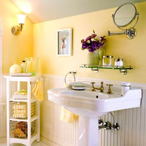 Small But Lovely White Yellow Bathroom With Yellow Accents And White  Wainscoting... Trending