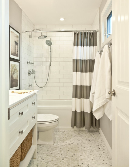 vintage inspired white bathroom with gray and white shower curtain, framed art, towels... Trending in Home Decor: Winter Bathroom Inspiration from Bathroom Bliss by Rotator Rod