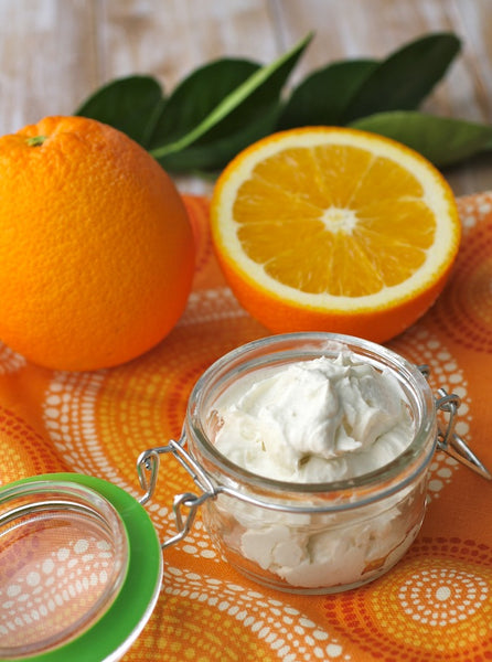 easy Orange Coconut Whipped Body Butter recipe... Turn Your Bathroom into a Spa with DIY Fall Beauty Treatments from Bathroom Bliss by Rotator Rod