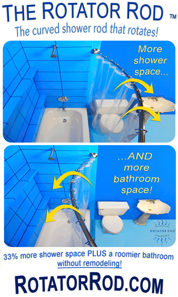 Rotator Rod, the curved shower rod that rotates for a larger shower. Afterwards, with just a twist of the wrist, the bowed out part of the shower rod flips into the shower for an instantly roomier bathroom! ... Should You Change Your Shower Rod for Winter? from Bathroom Bliss by Rotator Rod