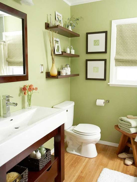 lovely green bathroom with warm wood floor, white and wood accents, poppy flowers... Wood Floor Bathroom Inspiration from Bathroom Bliss by Rotator Rod