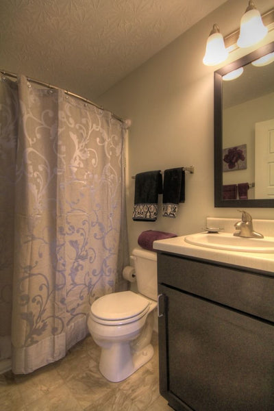 beautiful purple and silver bathroom featuring a Rotator Rod shower rod at 300 At The Circle Apartment Community in Lexington, KY... Expand Your Bathroom Easily with Rotator Rod, the Curved Shower Rod that Rotates!