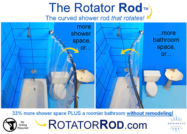 The Rotator Rod curved shower rod that rotates!... Quick Fix Bathroom Ideas: Expand Shower Space Easily with a Curved Shower Rod from Bathroom Bliss by Rotator Rod