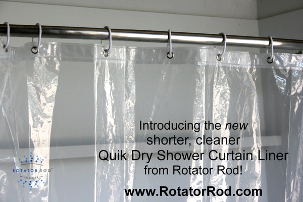 Quick Dry Shower Liner is shorter and dries quickly so you can say goodbye to mold for good!... Prepare for Holiday House Guests with a Well Stocked Guest Bathroom from The Bathroom Bliss Blog by Rotator Rod