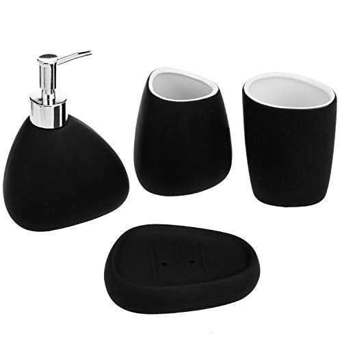 MyGift 4-Piece Matte Black Bathroom Accessory Set w/Soap Dispenser, Tumbler, Toothbrush Holder & Soap Dish